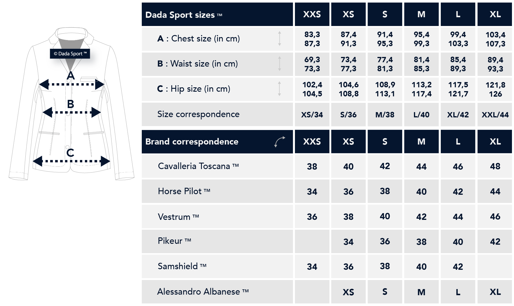 Dada Sport Riding and Competition Jacket Sizing Guide